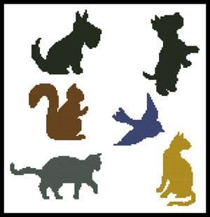 Animal Silhouettes by Artecy printed cross stitch chart